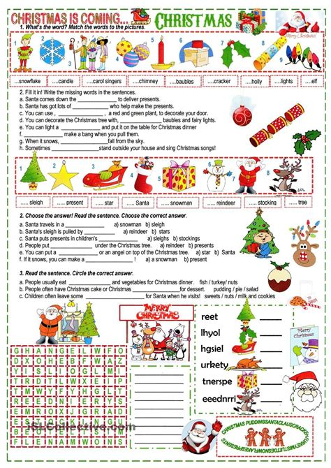 printable christmas english worksheets a xmas cloze esl worksheets of the day pinterest