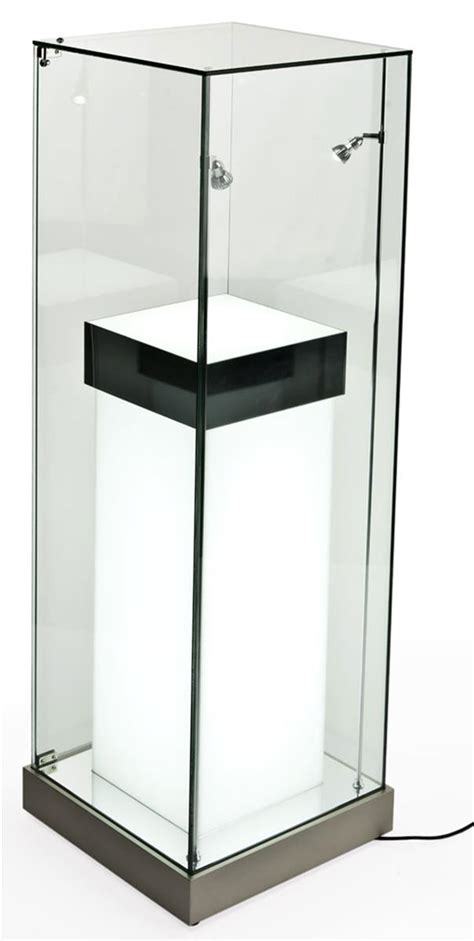 lighted display stand for glass art the illuminated pedestal for trophies has led lighting
