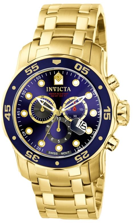 invicta pro diver chronograph blue 18kt gold plated