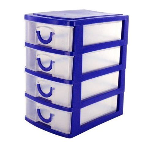 4 Drawer Mini Desk Top Storage Small Plastic Office Plastic Desk Drawer Organizer