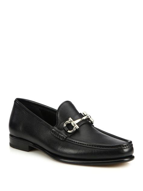 black loafers for ferragamo bit pebbled leather loafers in black for
