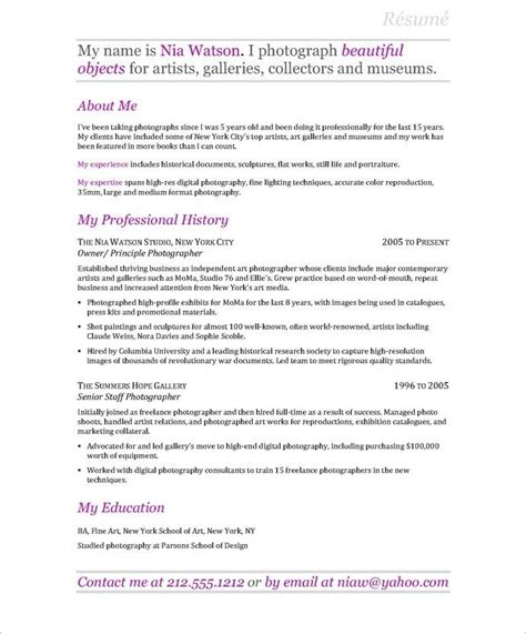 Photography Resume by Photographer Resume Business