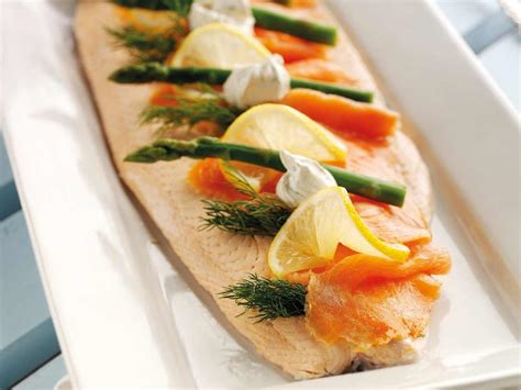 poached salmon recipes poached salmon with lemon wedges asparagus and dill saga