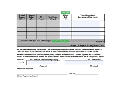 10 Grant Budget Sles Sle Templates Grant Format Template