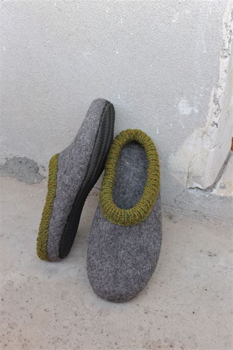 boiled wool shoes mens felted slippers house shoes for men felt felted slippers for man with rubber soles mens house