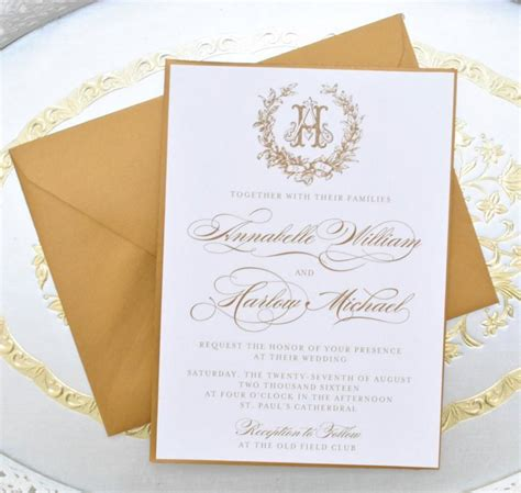 monogram wedding invitations gold wedding invitation monogram invitation