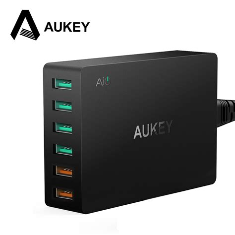 Aukey Usb Charger 6 Port With Dual Charge 30 Pa T11 מוצר aukey multi usb charger dual charge 3 0 ports 4 usb ports fast turbo wall charger