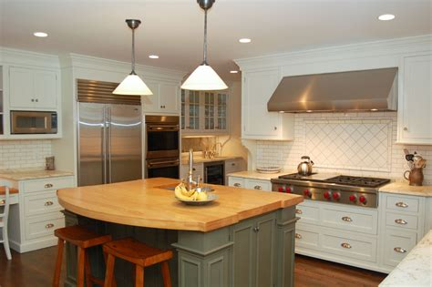 white kitchen island with butcher block top akomunn