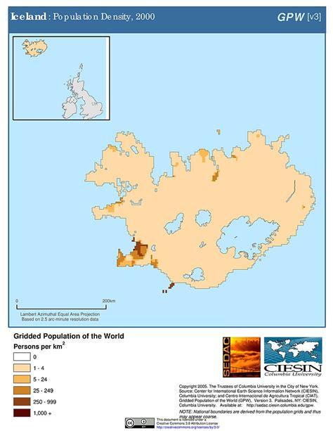 Iceland Population Maps 187 Population Density Grid V3 Sedac