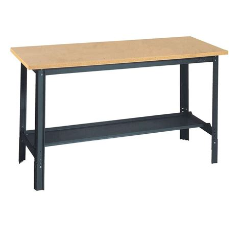commercial work bench edsal 60 in w x 24 in d commercial adjustable h workbench with wood top the home depot canada