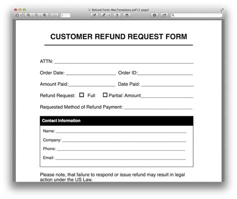 Money Request Letter Exle Refund Request Form Template For Apple Pages Pdf Mactemplates