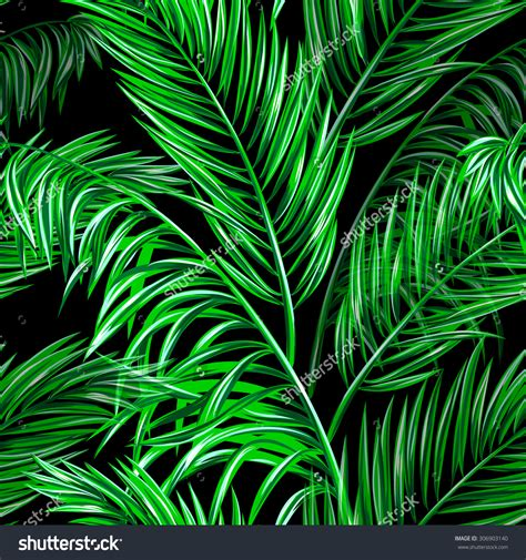 wallpaper tropical green tropical palm leaves seamless vector jungle floral pattern