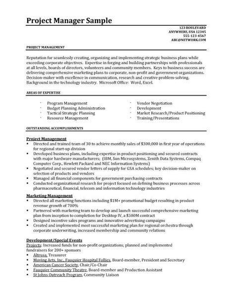 project management resume exles project manager resume resume sles better written