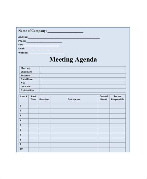 11 blank meeting agenda templates free sle exle