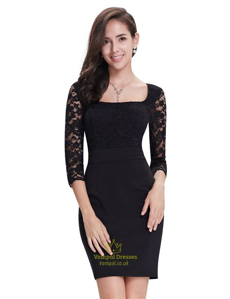 black lace sheath cocktail dress with 3 4 sleeves