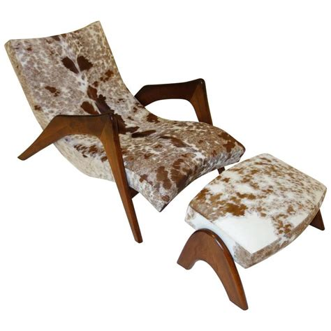 cowhide ottoman for sale rare quot crescent quot lounge chair and ottoman by adrian