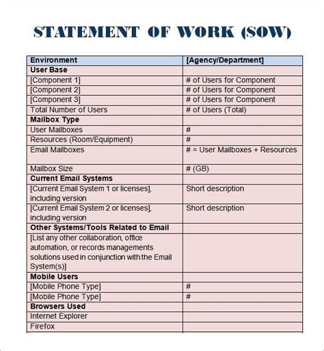 statement of work template free statement of work template beepmunk