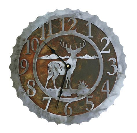 Deer Metal Art Clock   12 Inch