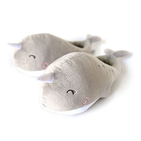 narwhal slippers narwhal usb heated plush slippers thinkgeek