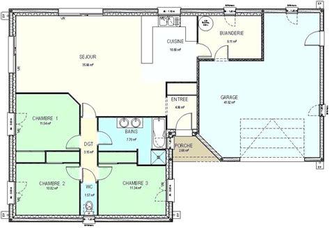 plan pavillon 100m2 plan maison 100m2 awesome best simple plan maison