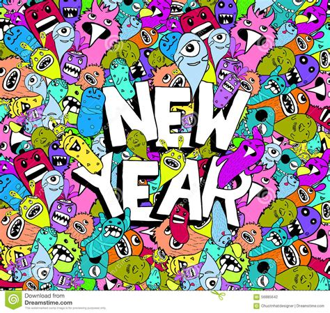 new doodle new year doodle colorful background stock vector