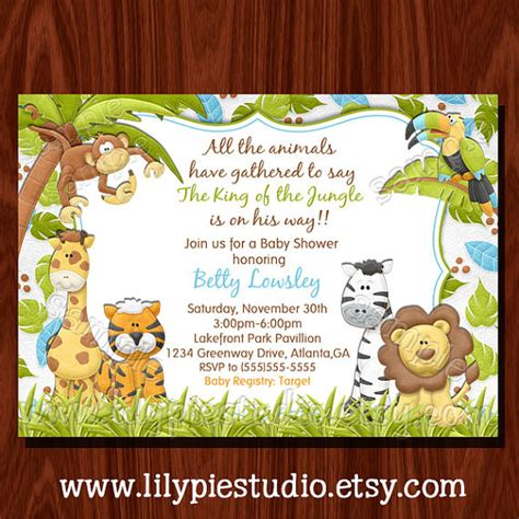 new jungle baby shower invitation printable digital file