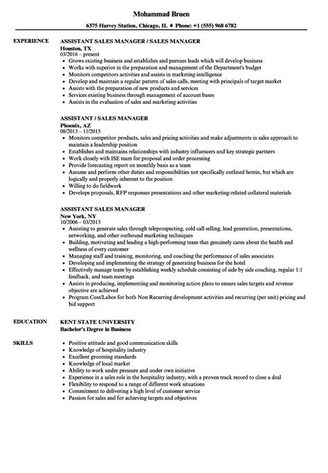 Assistant Operations Manager Sle Resume by Assistant Sales Manager Resume Sles Velvet