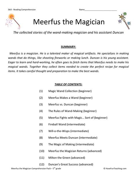 reading comprehension test online reading comprehension worksheet meerfus meets the magician