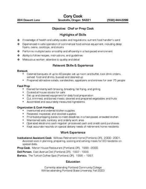 Cover Letter Resume Cook Exles Of Resumes For Cooks Resume Template Exle