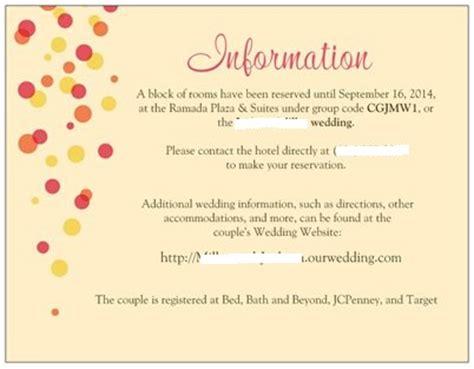 wedding invitation registry information invite insert question