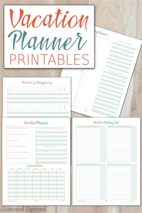 printable travel planner pages vacation planner printables