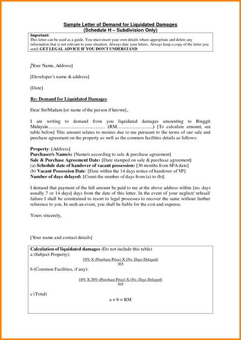 Demand Letter Damages 6 Letter Of Demand Sle Ledger Paper
