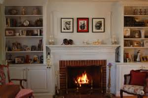 Fireplace Bookshelves Design Exposed Brick Wall Surround Fireplace Wit White Mantel