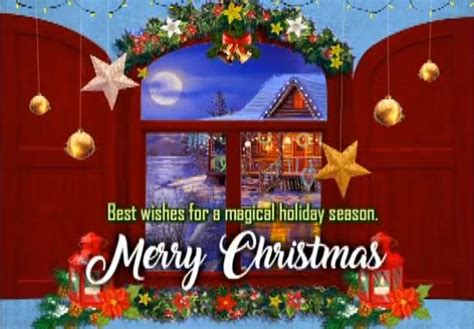 magical christmas wishes window moon  merry christmas wishes ecards