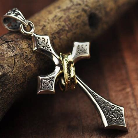 s sterling silver ring cross pendant necklace