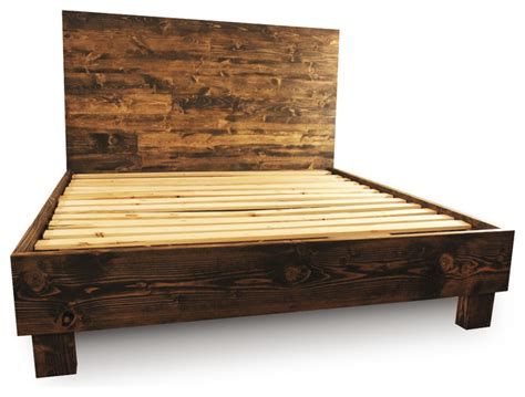 farm style platform bed frame dark walnut california