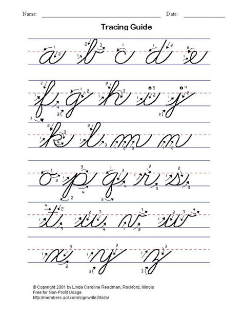 practice cursive writing the alphabet lower and