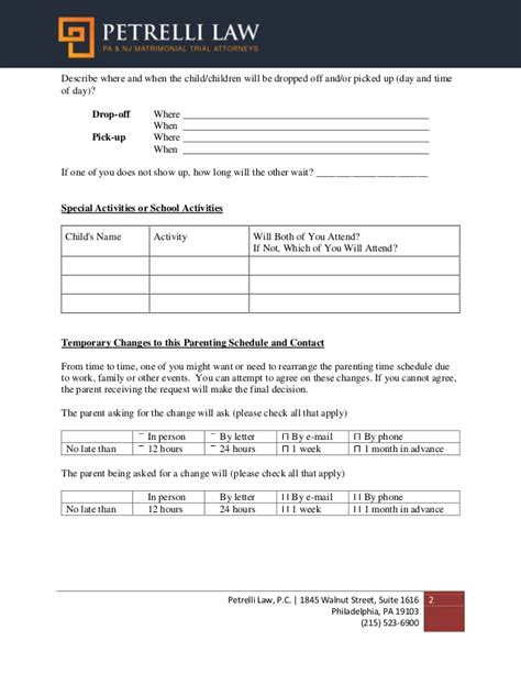Parenting Plan Template Parenting Plan Child Custody Agreement Template With Sle Within 20 Divorce Parenting Plan Template