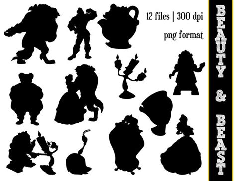 beauty amp the beast silhouettes disney princess belle