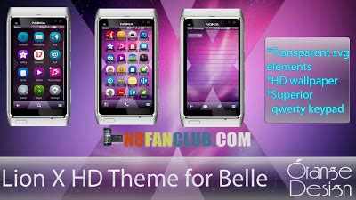 hd themes for belle fp2 lion x hd theme nokia n8 808 pure view symbian belle
