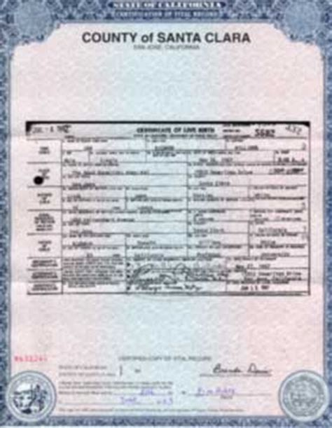 Louisiana Vital Records Birth Certificate Santa Clara County Birth Certificate California Get Vital Record Birth Certificate