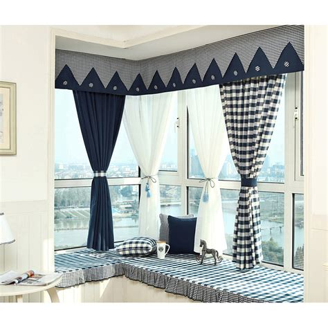 Navy Blue Plaid Curtains Navy Blue Plaid Print Linen Cotton Blend Bay Window Curtains Without Valance