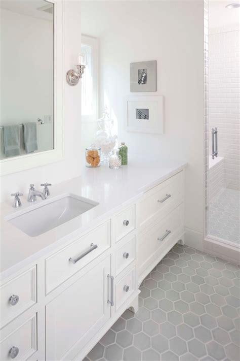 bathroom with grey floor gray hex tiles contemporary bathroom murphy co design