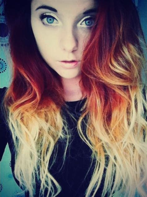 dip dyed red hairstyles red dip dye ombre hair fashion beauty hair pinterest