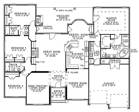 floor plans com country style house plan 4 beds 3 baths 2525 sq ft plan
