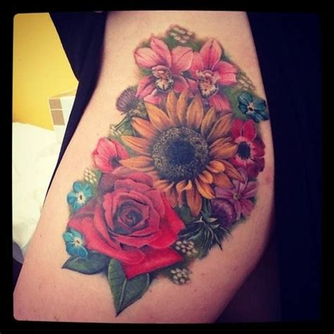 rose garden tattoo sunflower garden