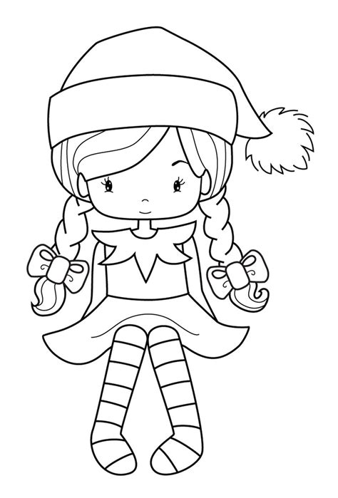 coloring pages elves santa elveswatching girl jpg 972 215 1434 christmas printables