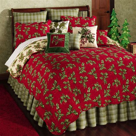 christmas bedding holly red holiday quilt bedding nothing but christmas pinterest
