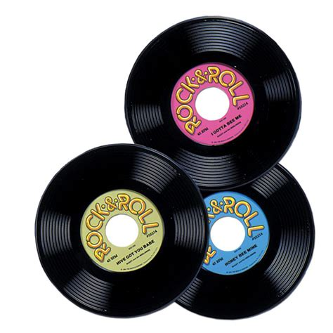Roll Records Pack Of 3 Rock And Roll 50s Plastic Record 23cm