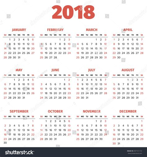 simple 2018 year calendar week starts stock vector
